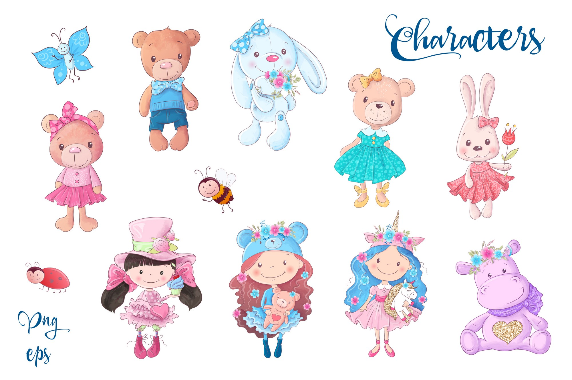 Cute Characters vector clip art example image 3