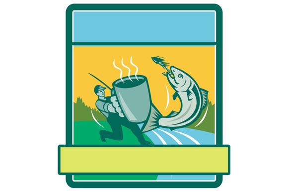 Fly Fisherman Catching Salmon Mug Rectangle Retro example image 1