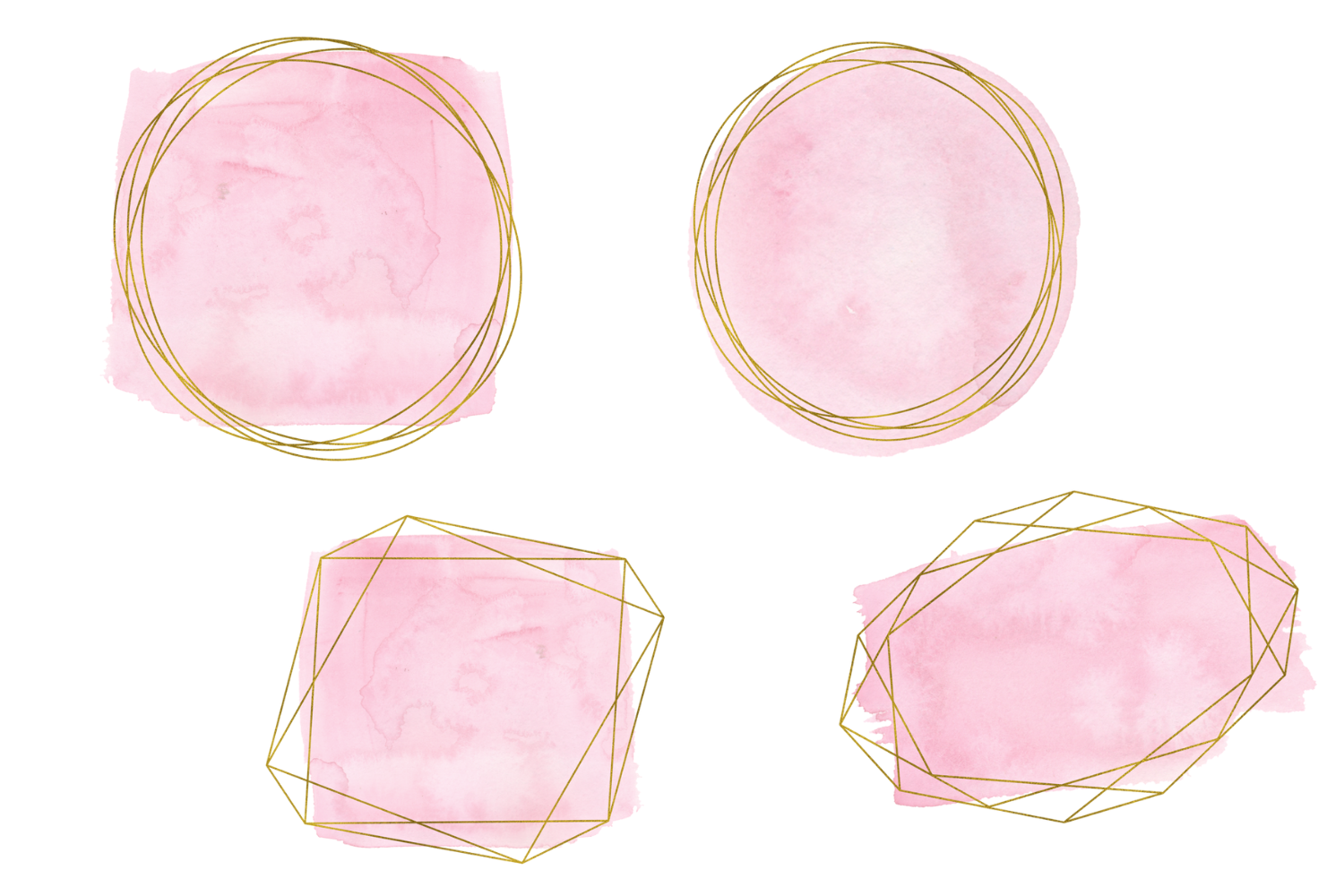 Pink and gold frames clip art, Watercolor design elements example image 2