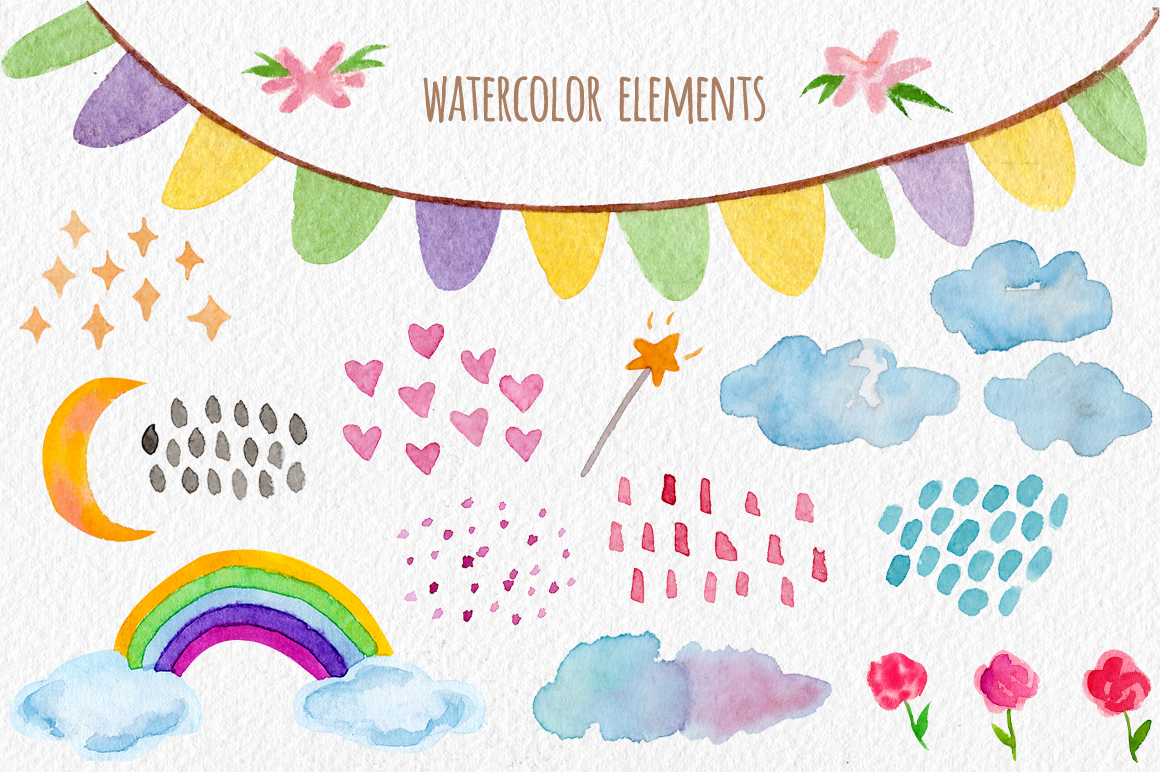 Watercolor Unicorn Set. Seamless Patterns, Clipart example image 3