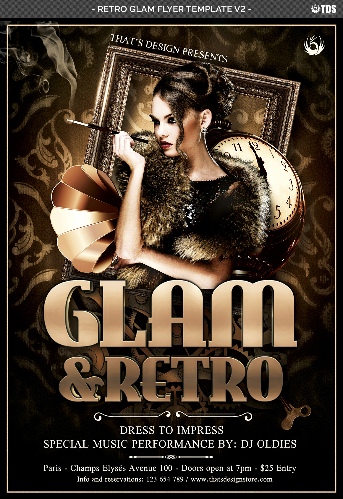 Retro Glam Flyer Template V2 example image 4