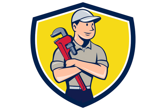 Plumber Arms Crossed Crest Cartoon example image 1