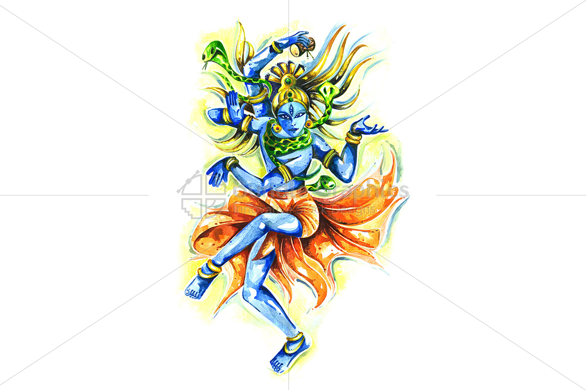 Lord Shiv as Nataraja - Abstract Painting example image 1