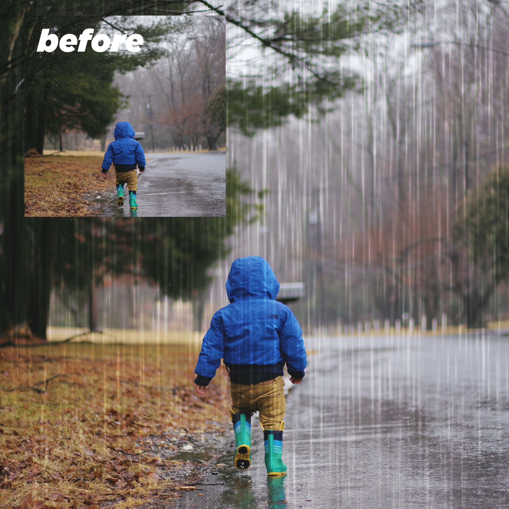 Rain Overlays Clipart, Falling Rain, Photoshop Overlays example image 2