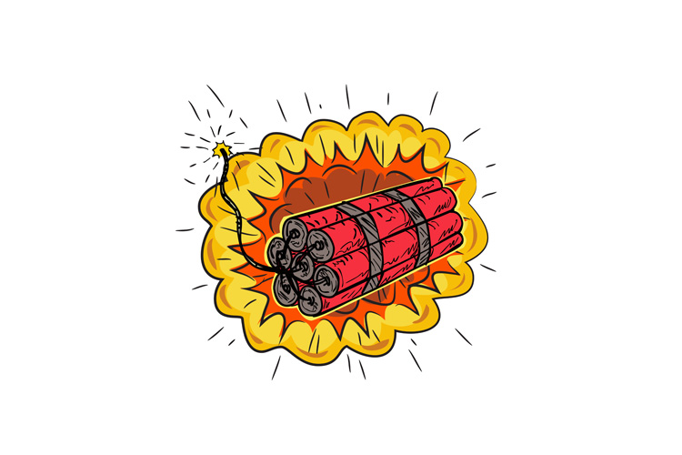 TNT Dynamite Stick Lit Fuse Exploding Drawing example image 1