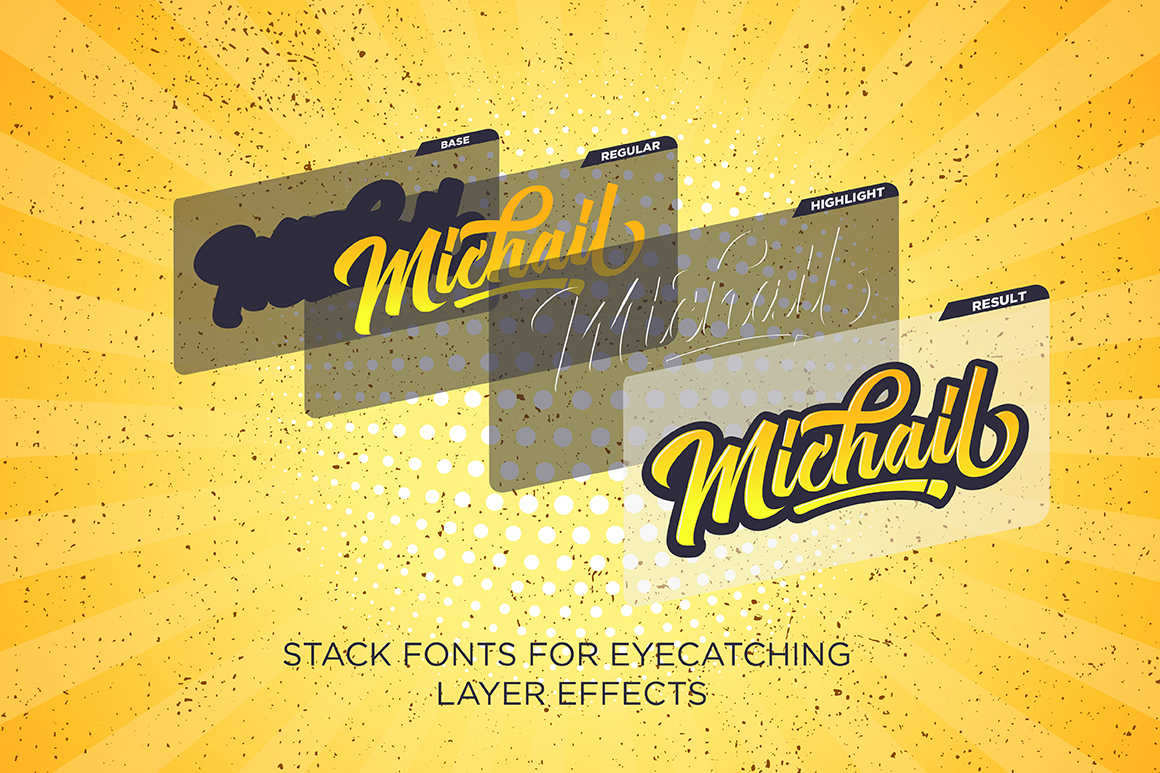 Michail Script - Layered Fonts example image 2
