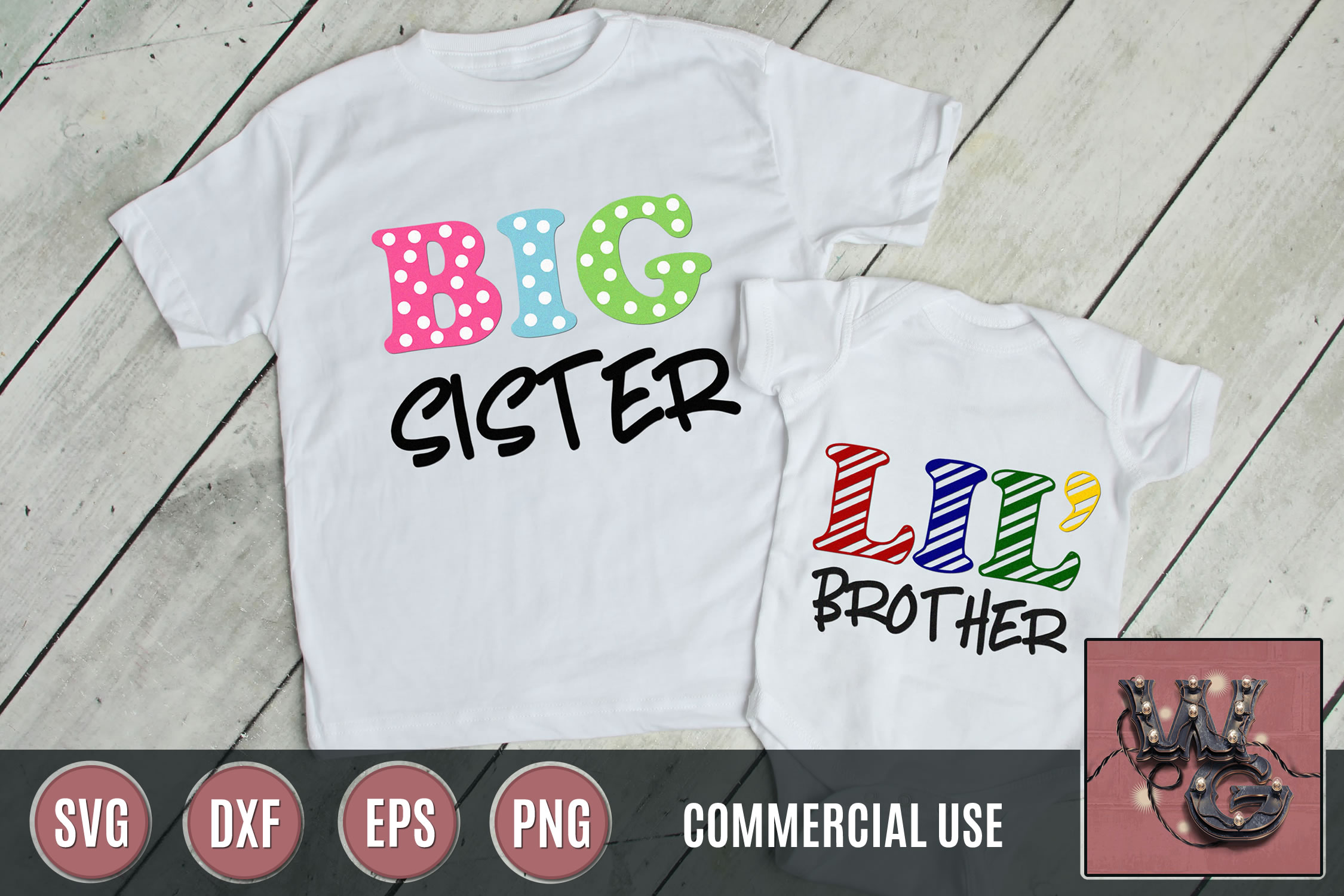 Sister Brother Huge Big Lil SVG DXF PNG EPS Comm example image 1