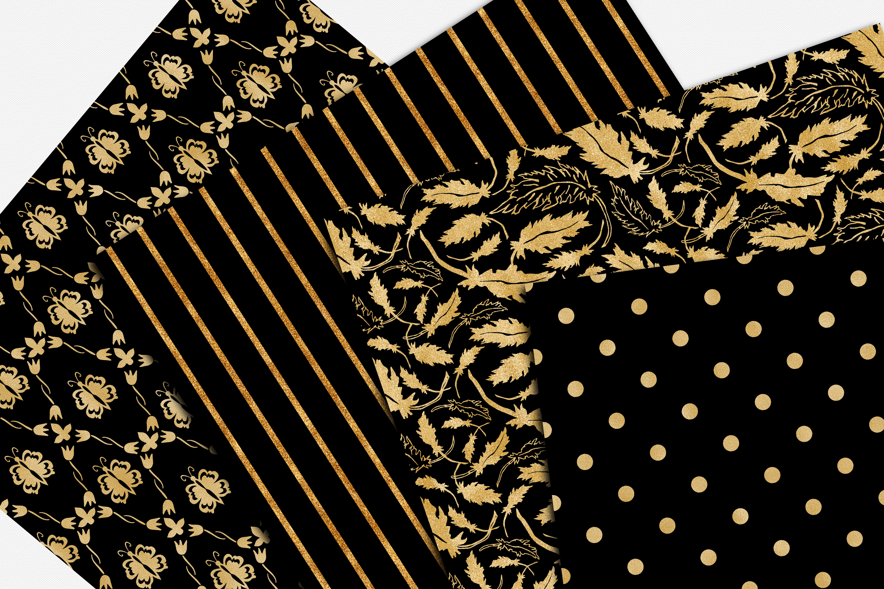Black and Gold Seamless Papers - Damask & Geometric Patterns example image 4