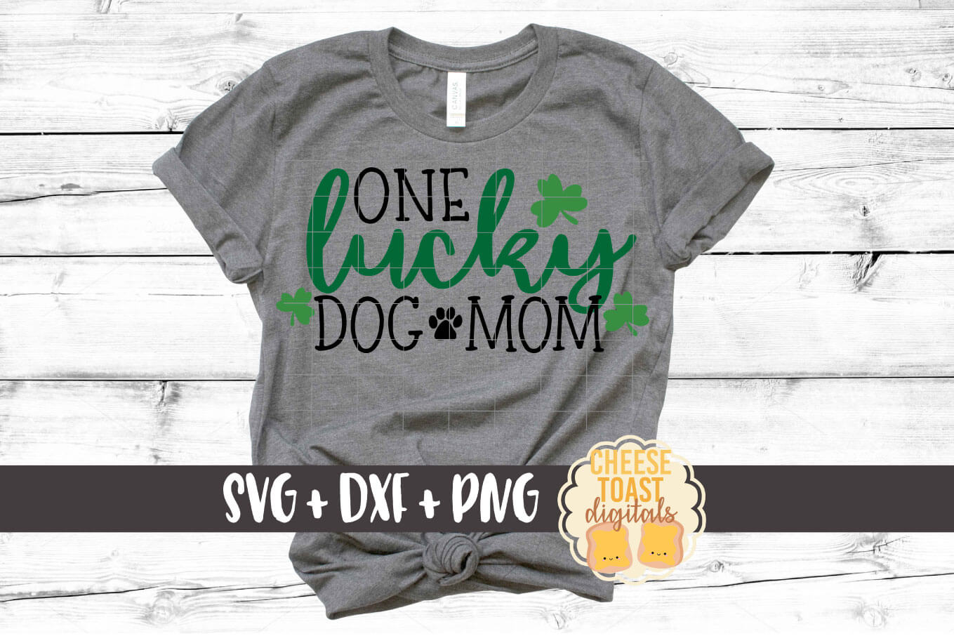 One Lucky Dog Mom - St Patrick's Day - SVG PNG DXF Cut Files example image 1