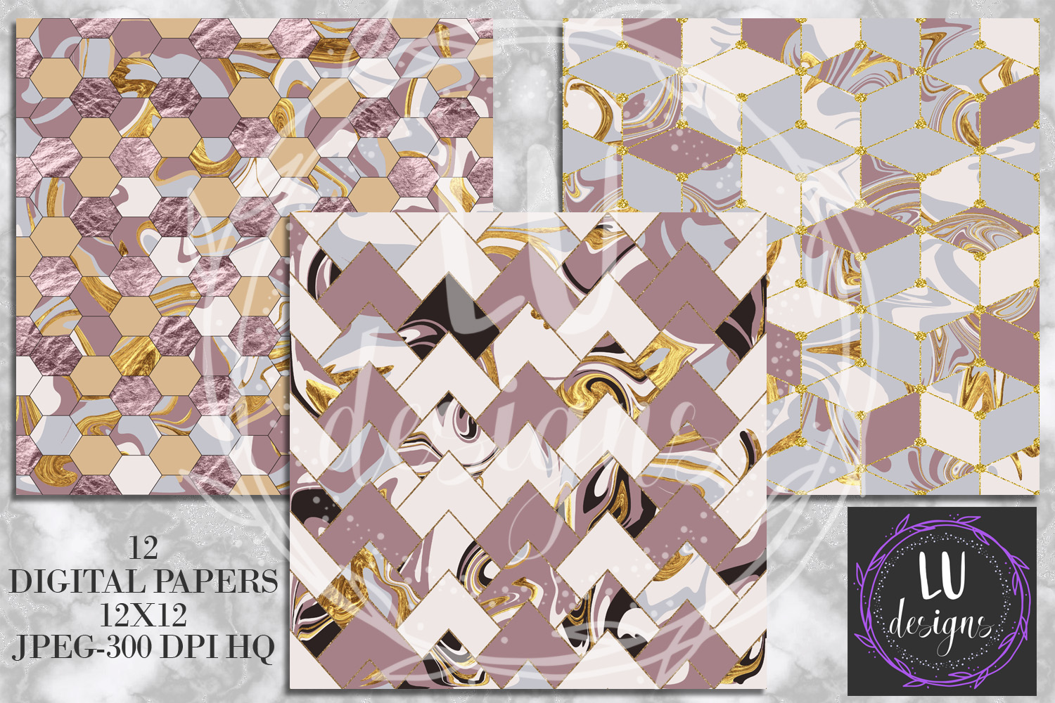 Geometric Marble Digital Papers, Geometric Backgrounds example image 5
