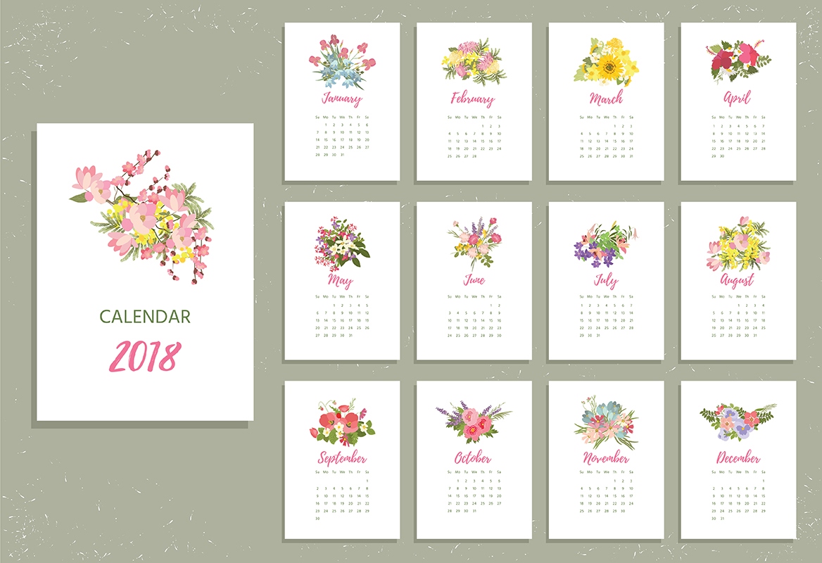 Printable 2018 Calendar with pretty colorful flowers. Vector illustration example image 1
