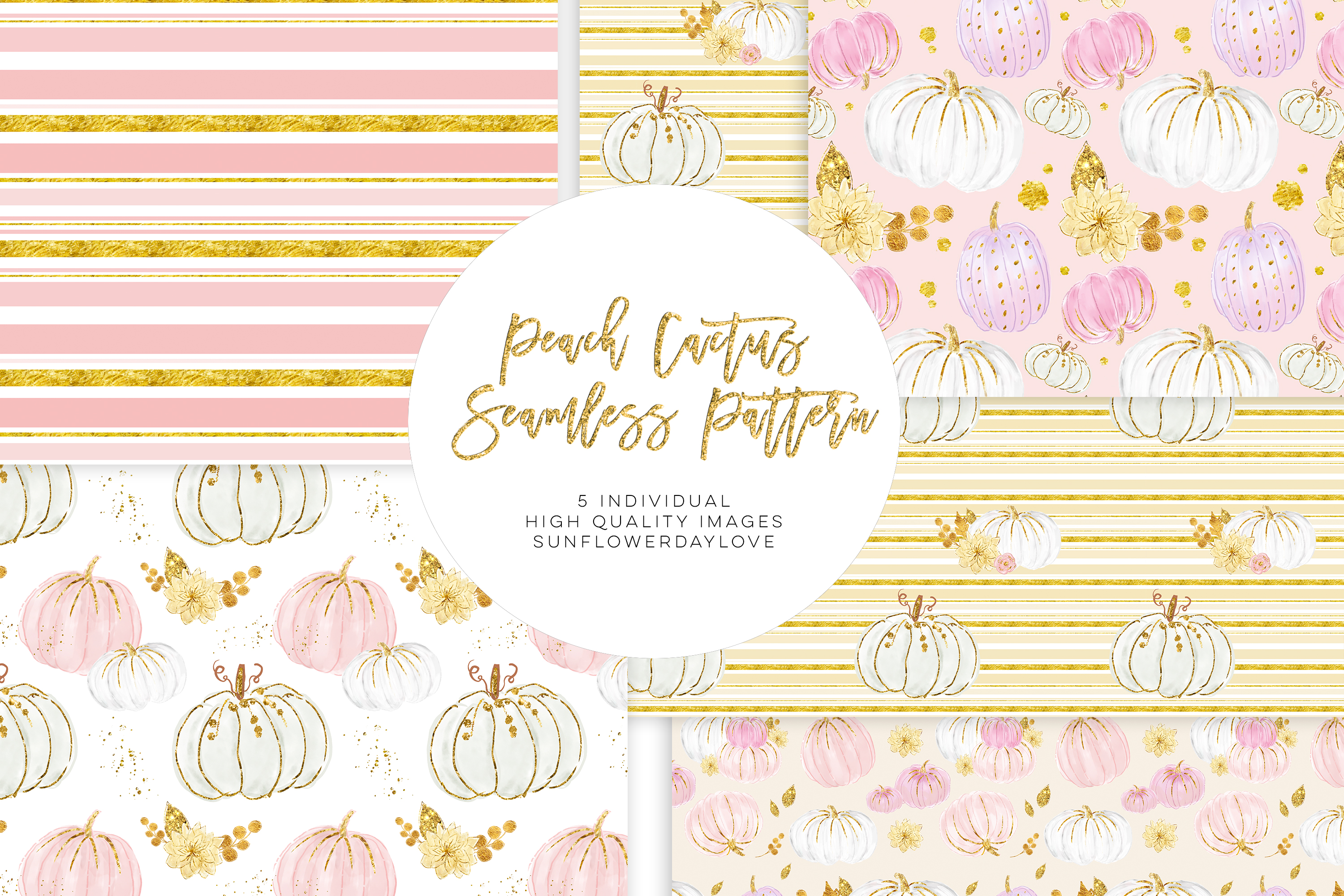 White and Pink Pumpkins Patterns, autumn pattern example image 3
