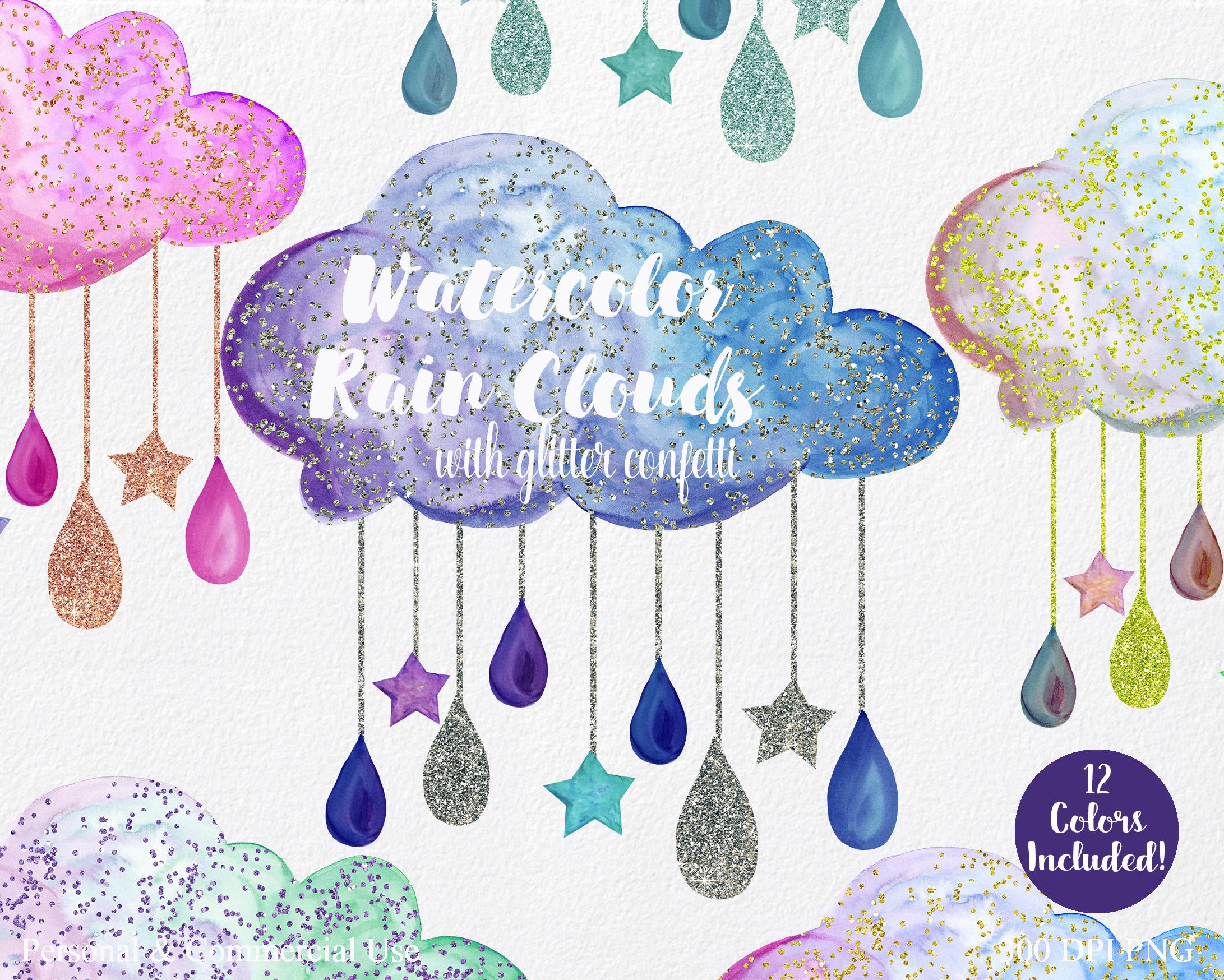 Cute Rainbow Watercolor Rain Clouds & Rain Drops with Metallic Gold Glitter Confetti Baby Shower Clipart Nursery Graphics Set example image 3