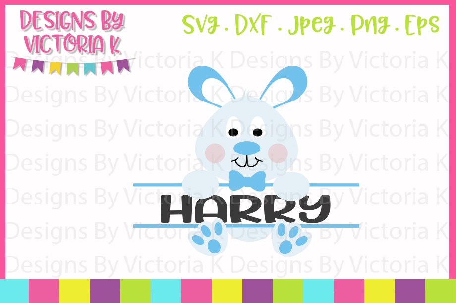 Easter Bunny, Boy Bunny Split Monogram, SVG, DXF, PNG example image 1