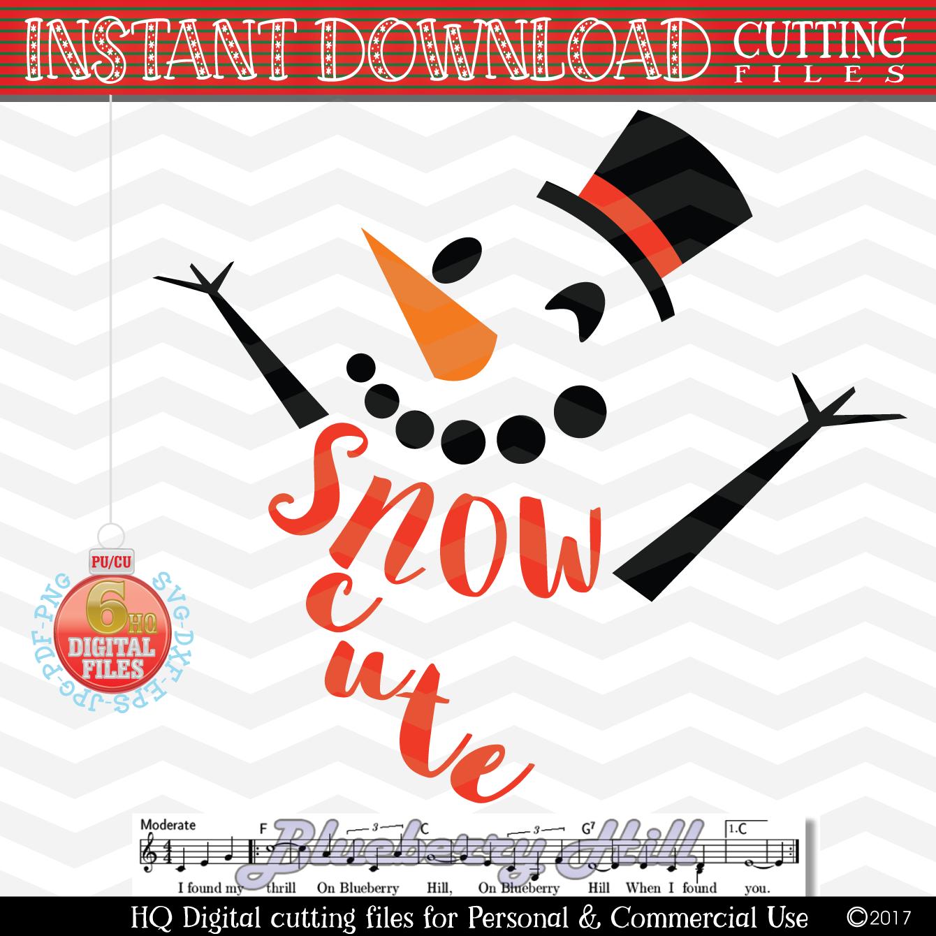 Snowman Svg -Snow Cute SVG - Christmas SVG - Snow SVG - Xmas example image 1