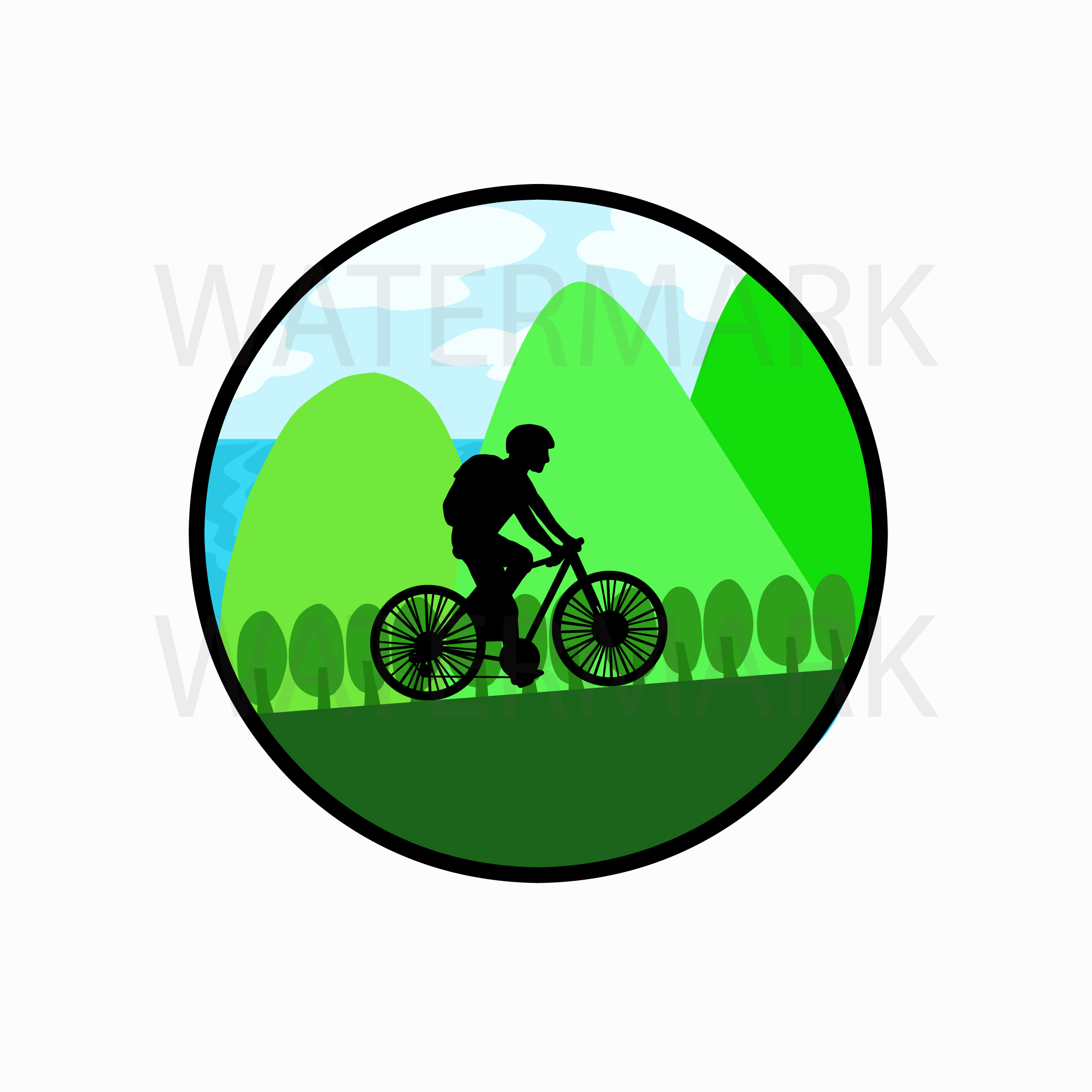 Bike on mountain by the lake - SVG/JPG/PNG Hand Drawing example image 1