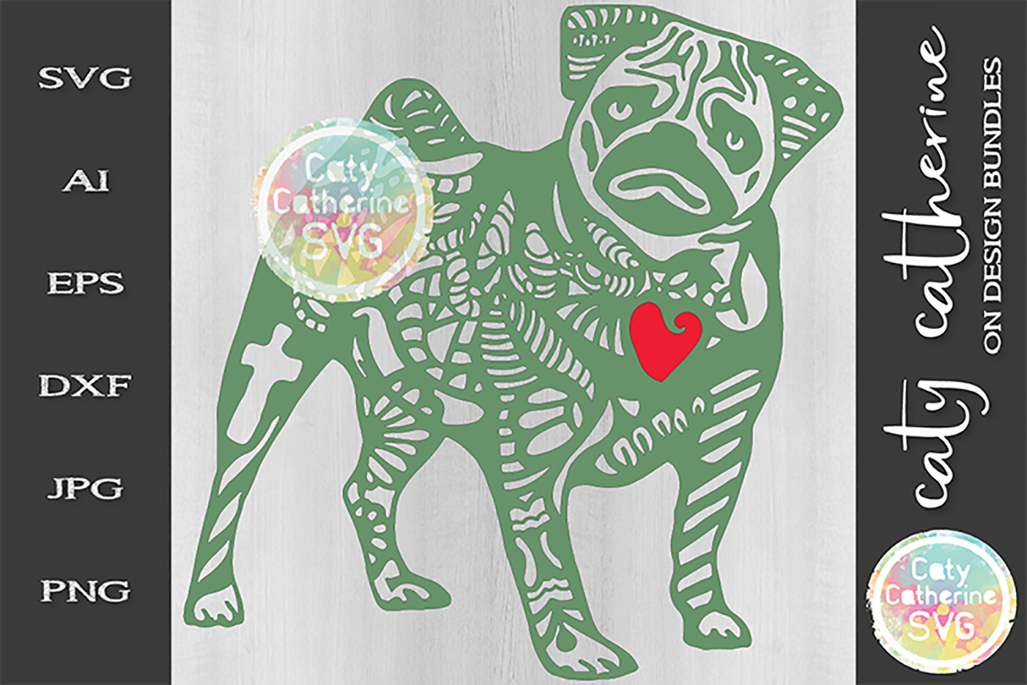 Pug Zentangle Dog SVG Cut File example image 1
