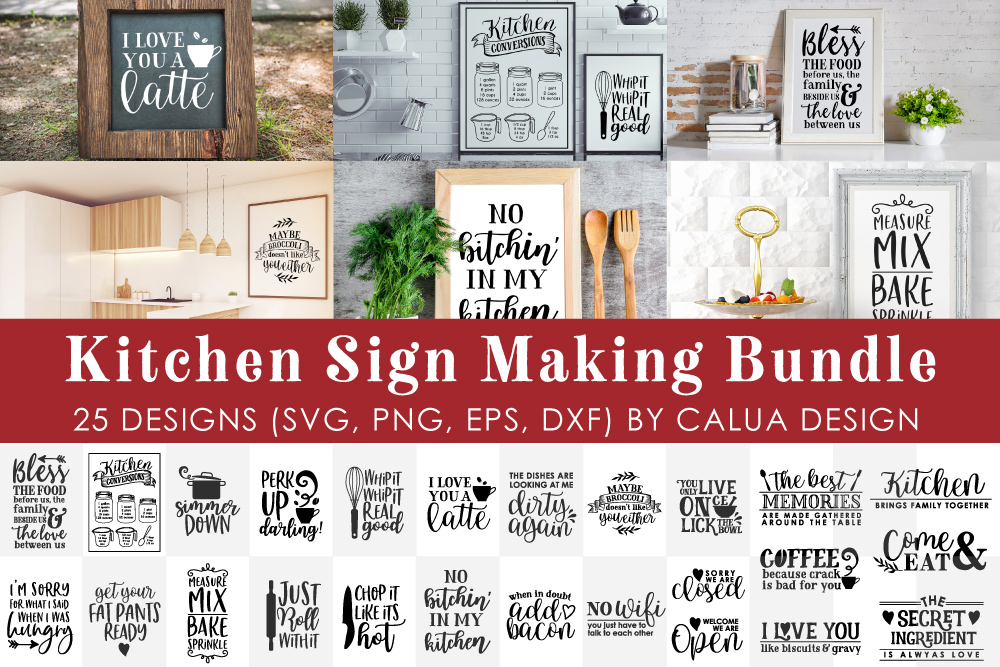 BIG Kitchen Sign Making Cut File Bundle example image 1