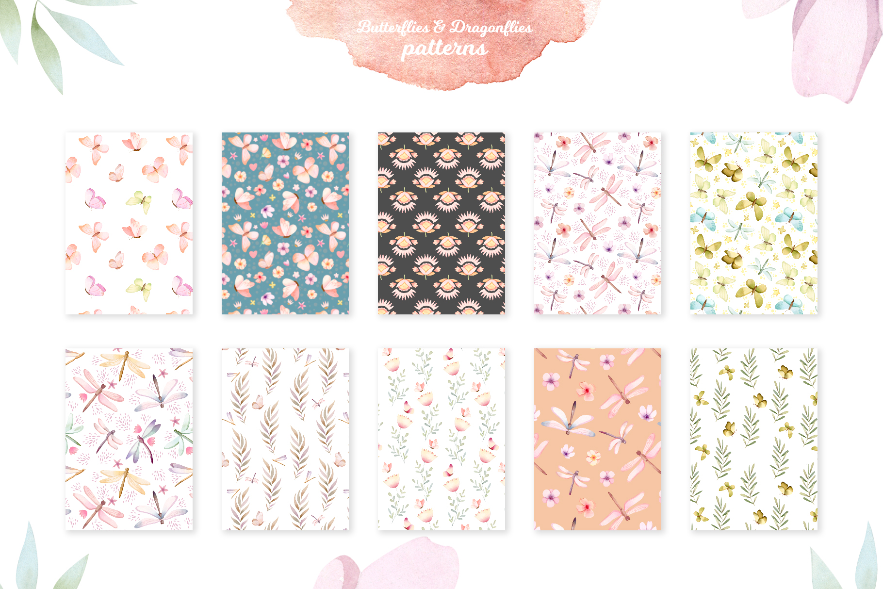 Butterflies and Dragonflies Patterns Collection example image 2