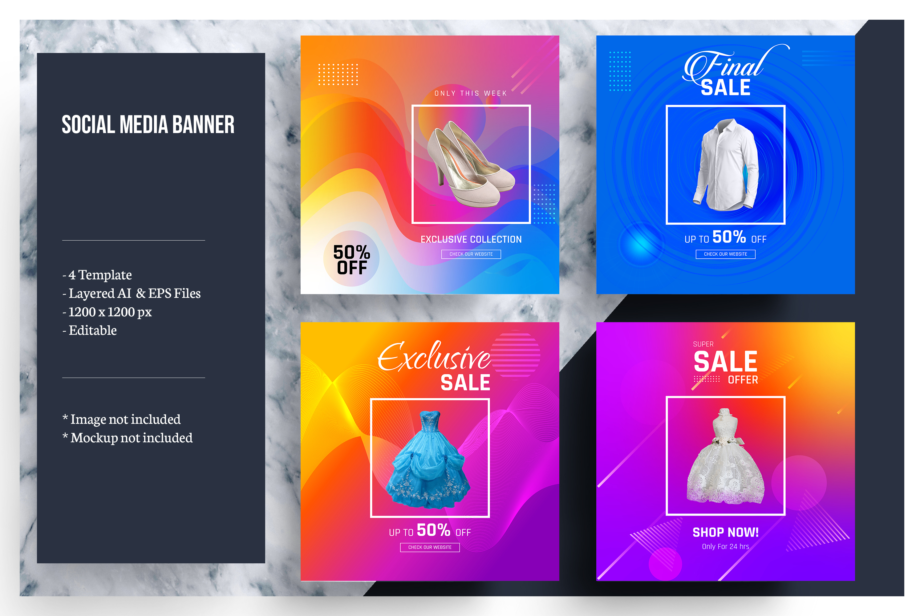 Colorful Social Media Banner Template example image 1