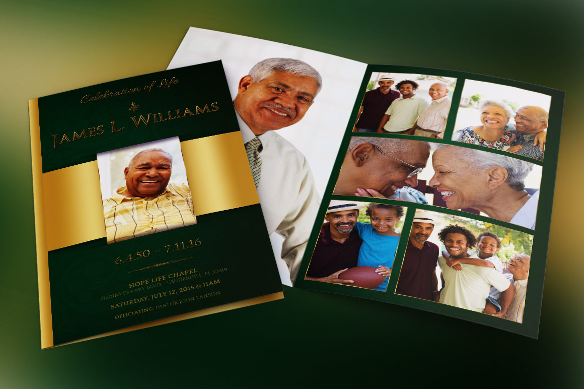 Green Regal Funeral Program Template example image 5