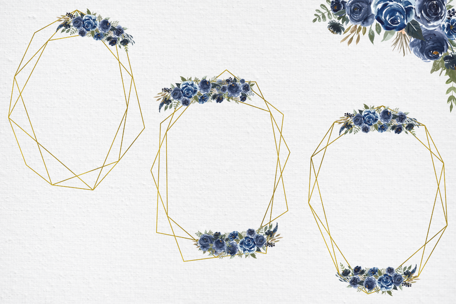 Navy Blue Watercolor Flowers Frames, Geometric Gold Frames, example image 5