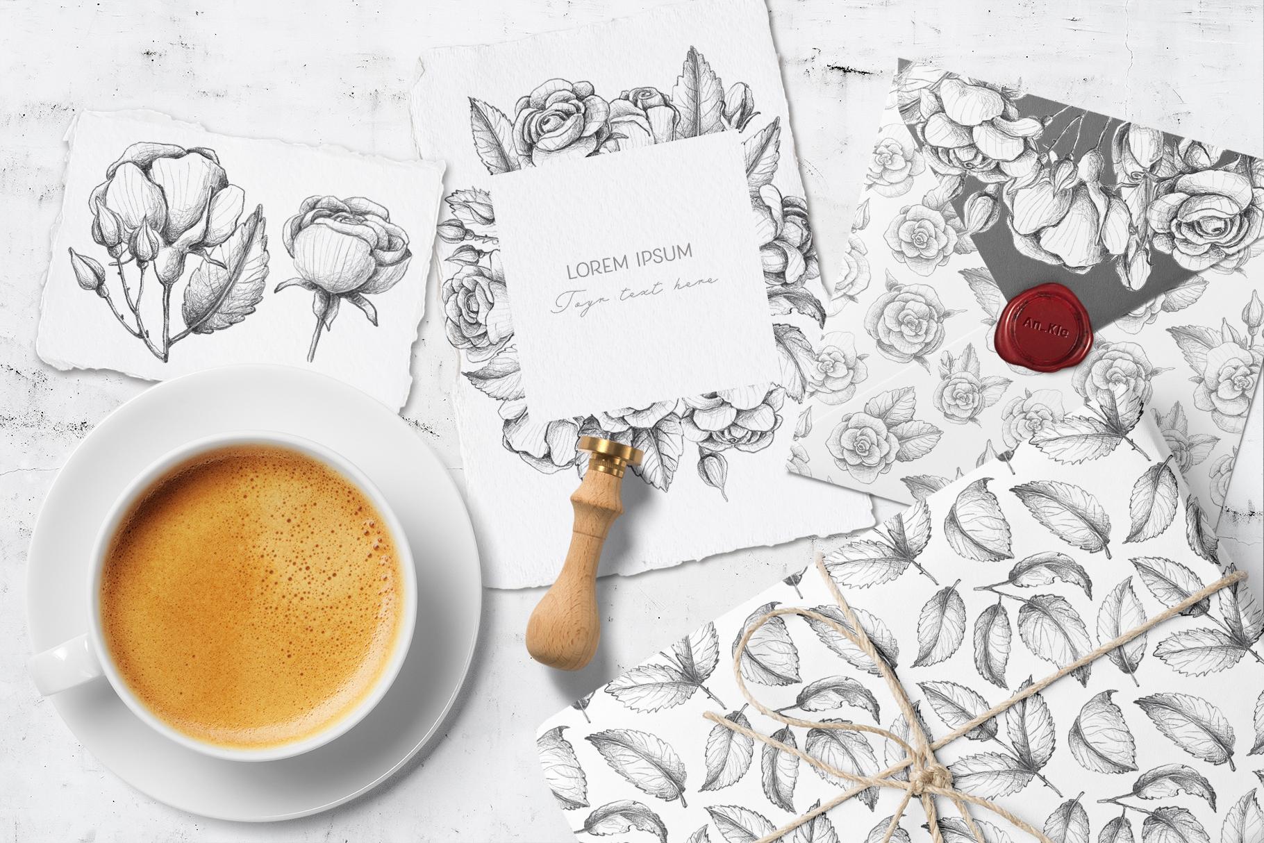 Sketched roses, patterns, frames example image 2
