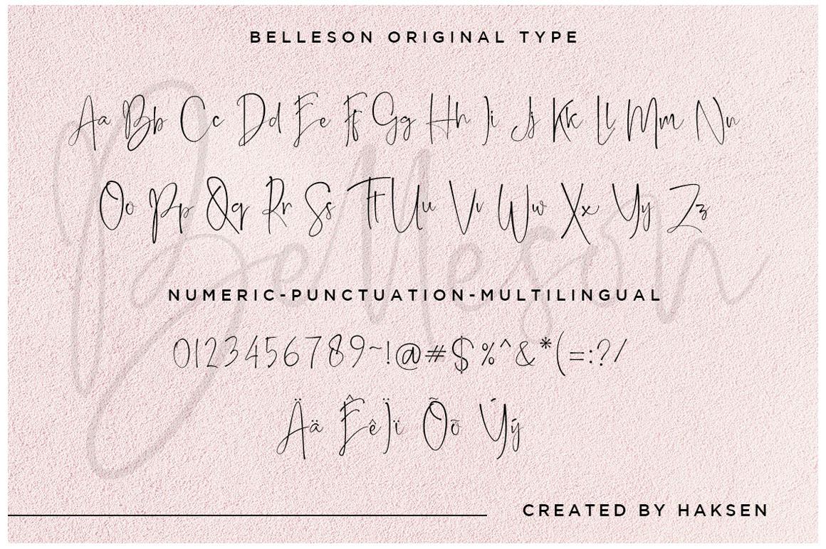 Belleson Luxury Script Type example image 12