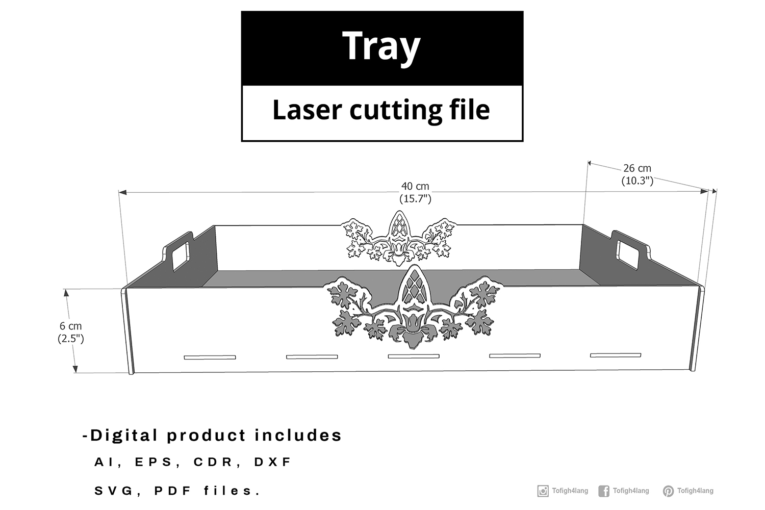 Tray - laser cut file example image 2