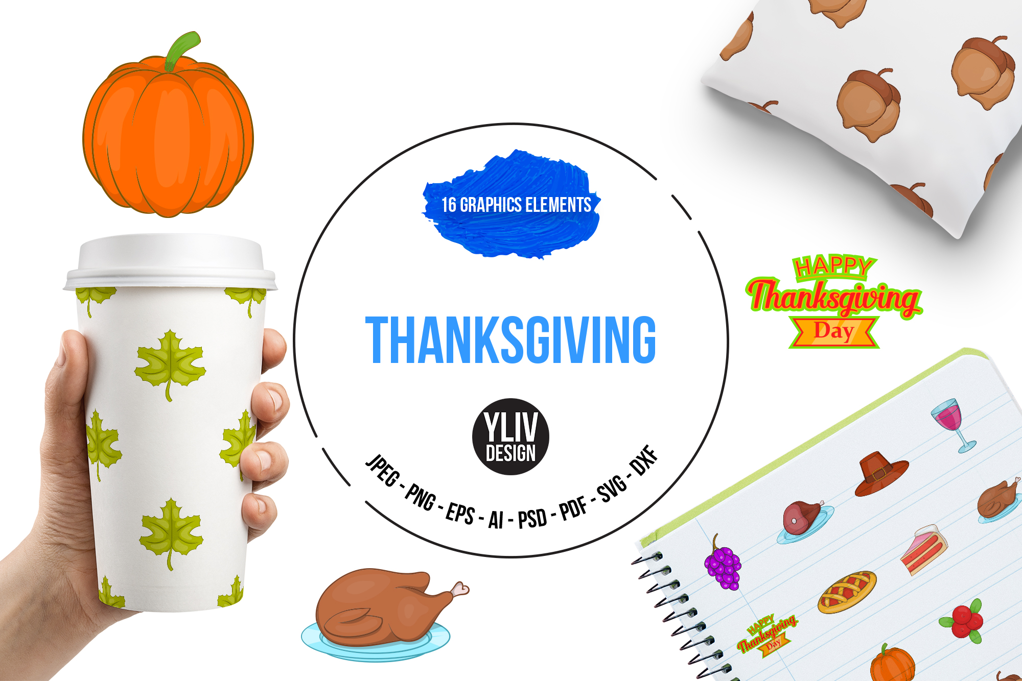 Thanksgiving icons set, cartoon style example image 1