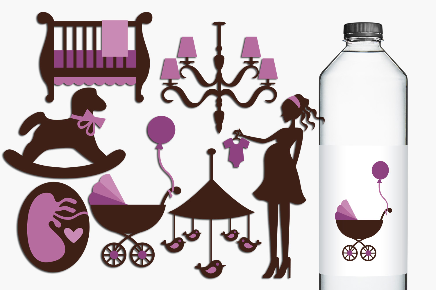 Chic Mom to be and purple nursery illustrations example image 1