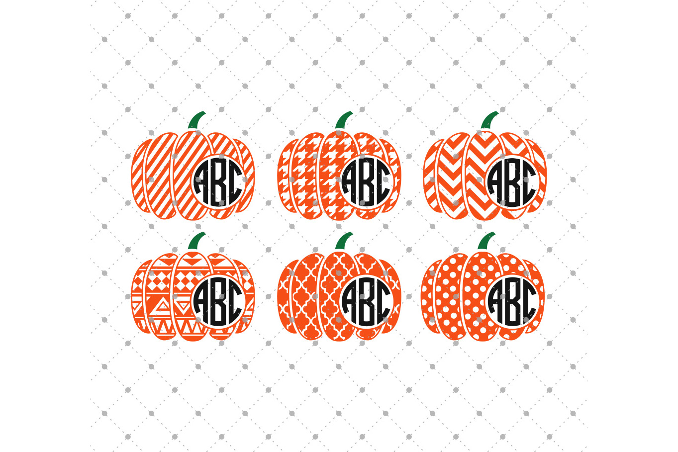 Halloween Patterned Pumpkin Monogram Frame SVG Cut Files example image 1
