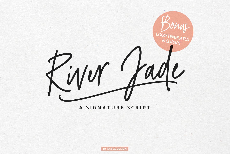River Jade, signature font script, Logos & bonus clipart example image 1