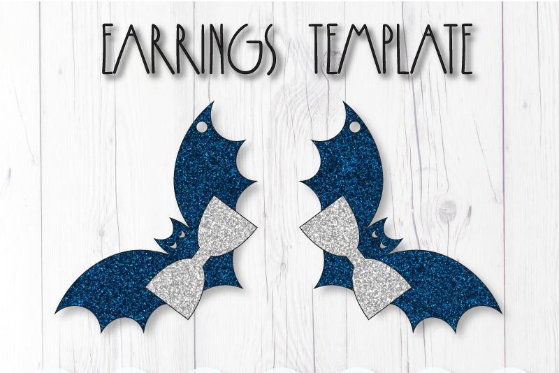 Bat earrings template SVG, DIY earrings template example image 1