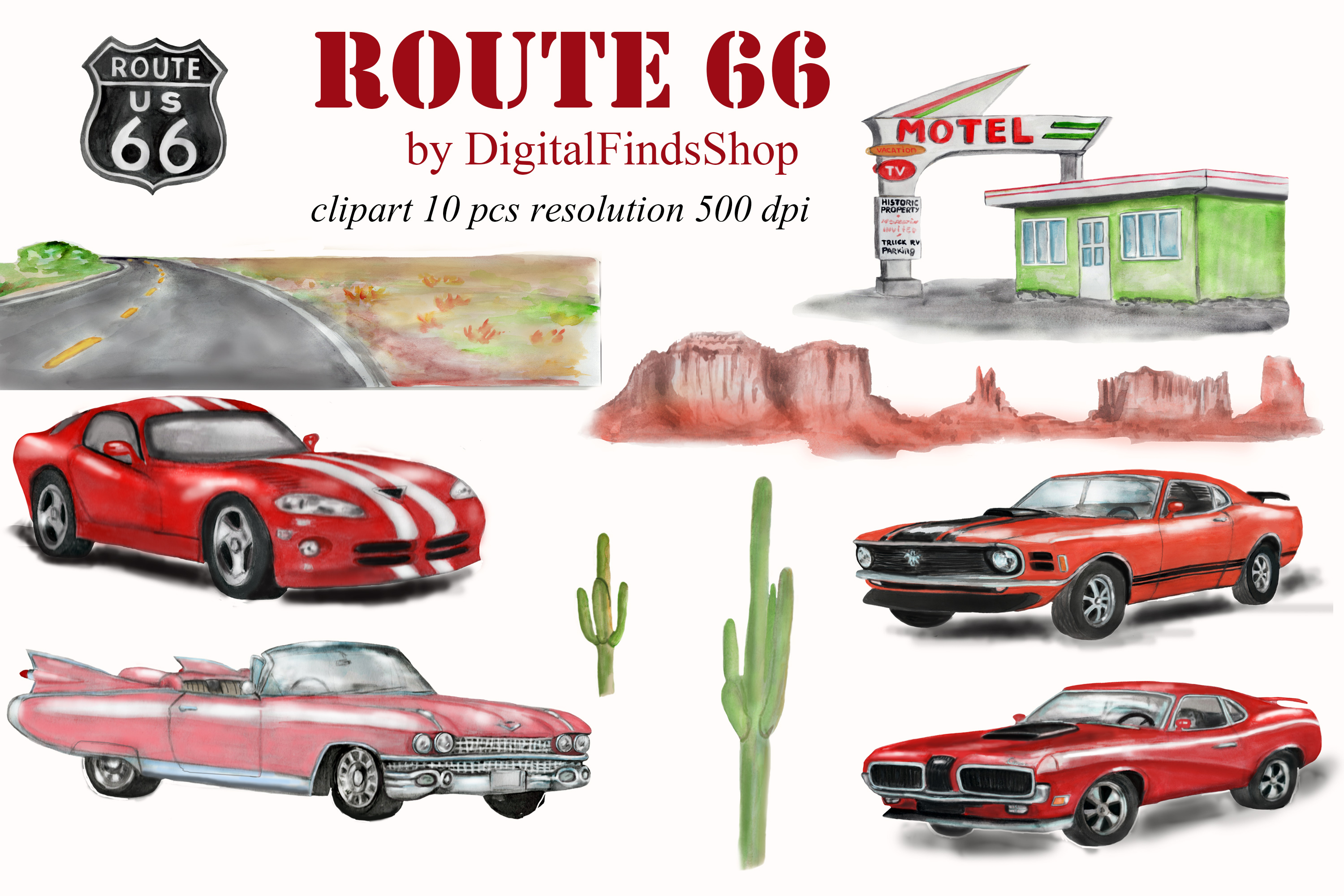 American car clipart, Route 66, vehicle watercolor clipart example image 2
