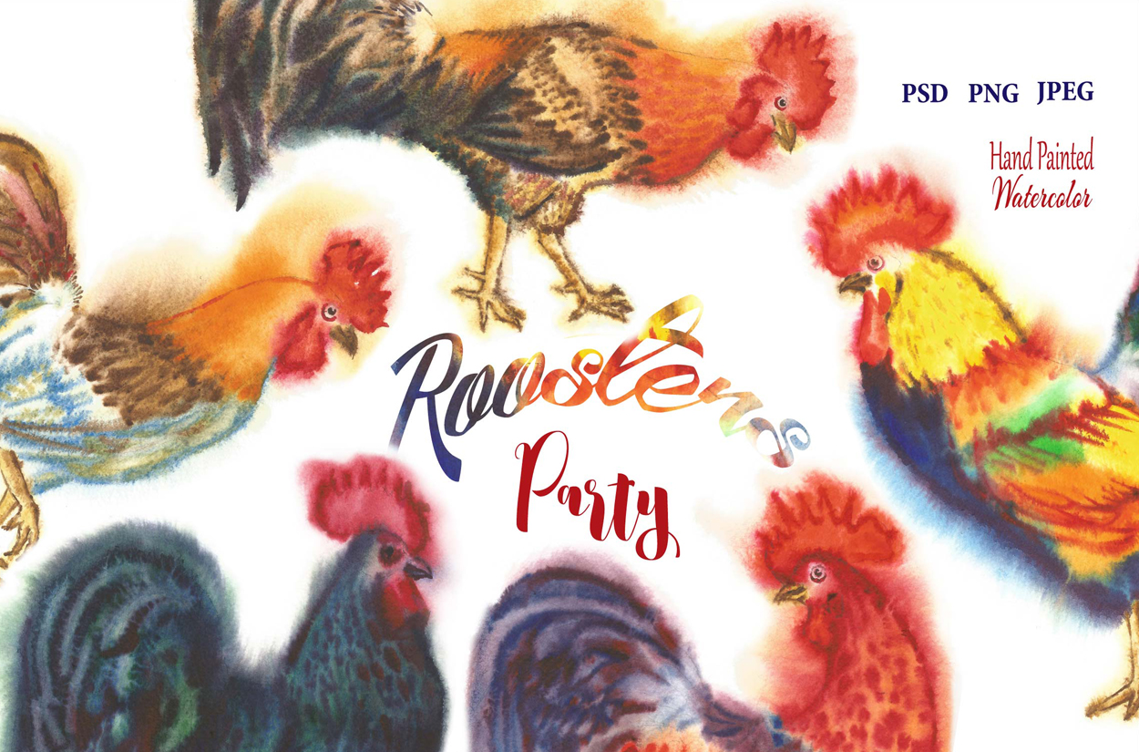Watercolor Roosters example image 1