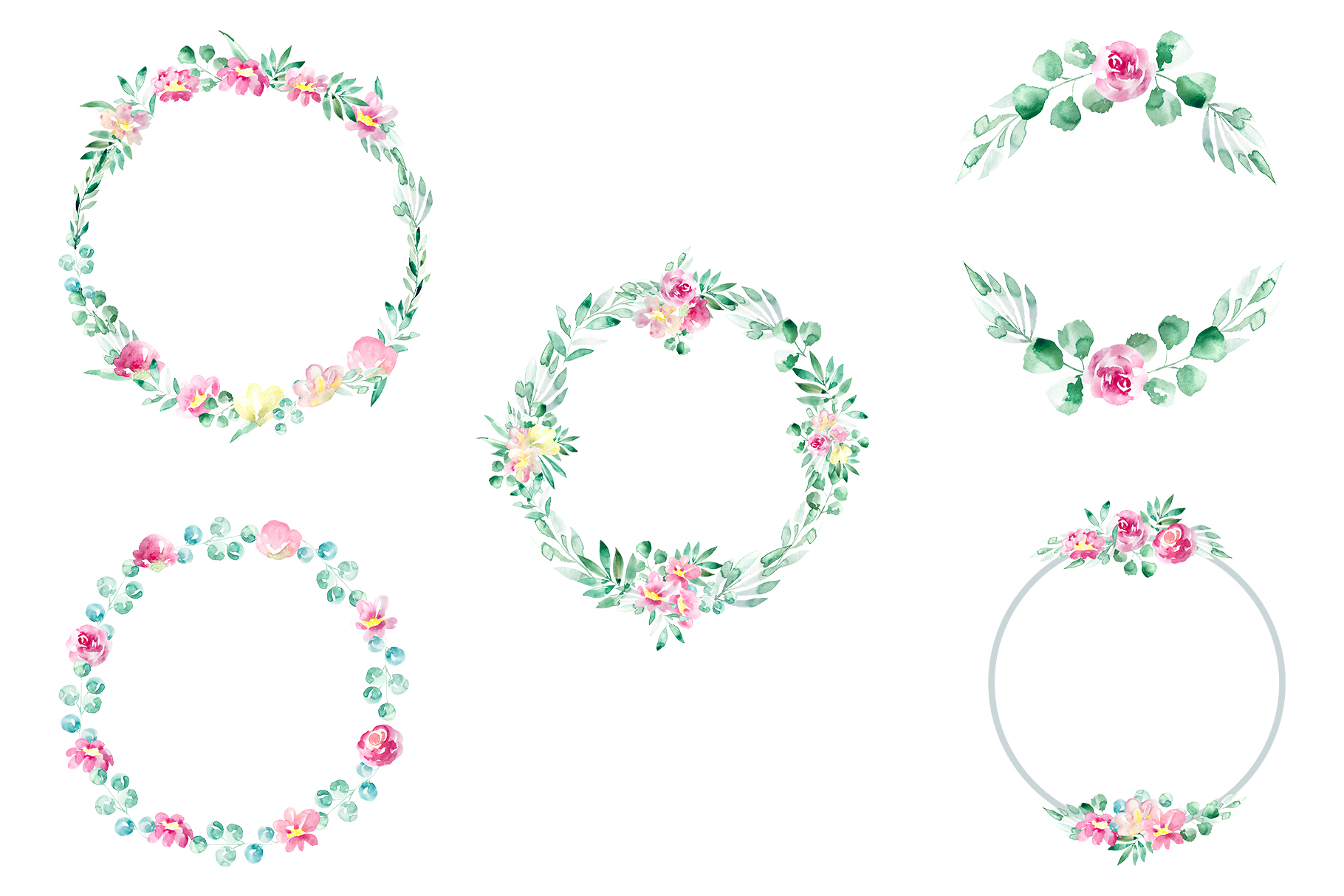 Pastel watercolor spring floral illustrations example image 6