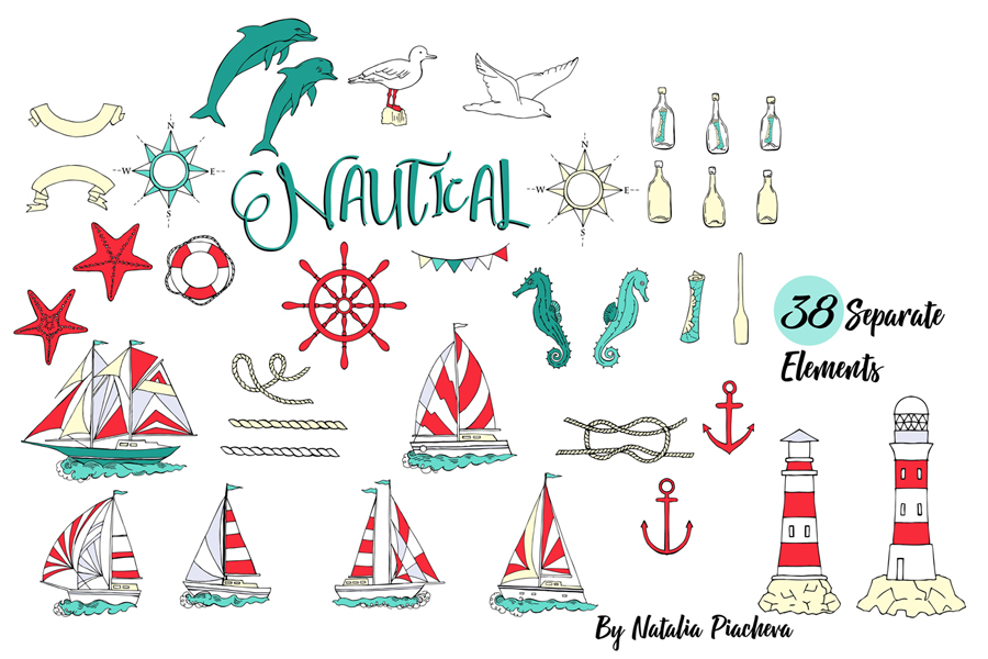 Nautical Elements with Ships example image 2