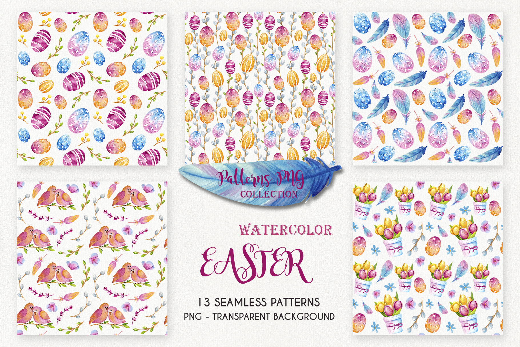 Easter Sealess Patterns - Watercolor Set example image 2