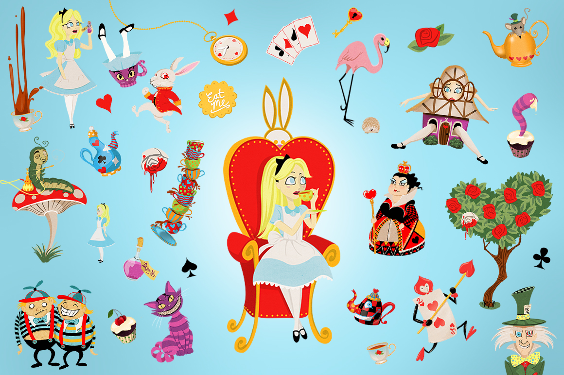 Alice in Wonderland Clip Art Collection example image 2