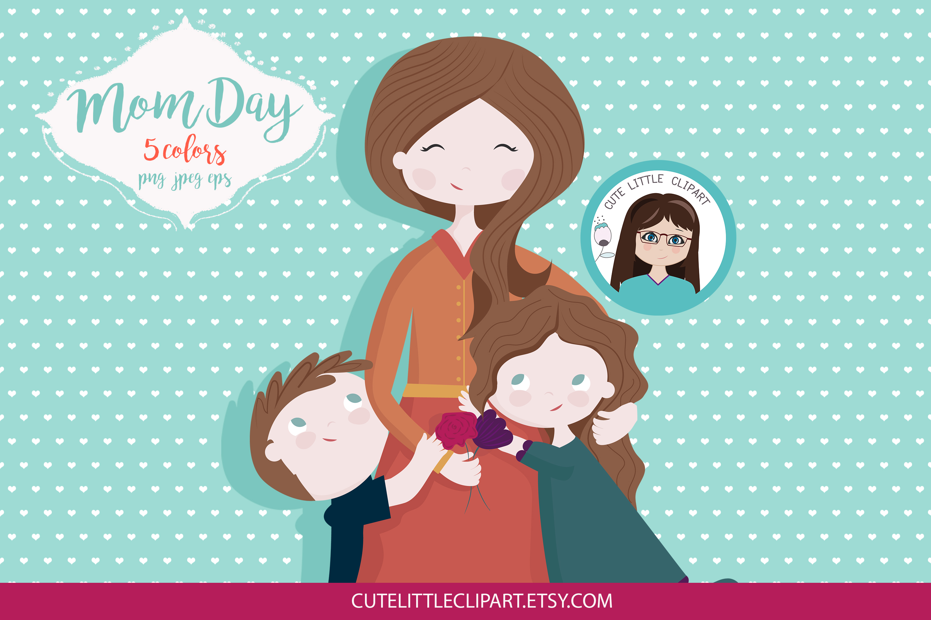 Mom and children clipart example image 3