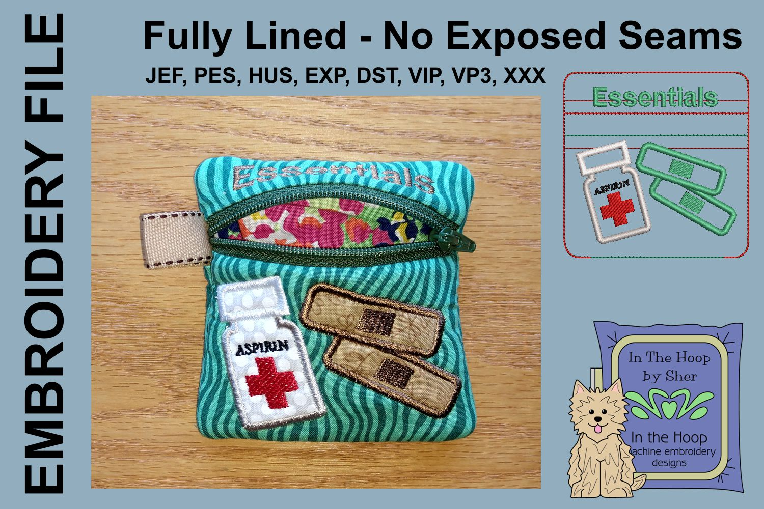 First Aid Mini Zipper Bag / Fully Lined, 4X4 HOOP example image 2