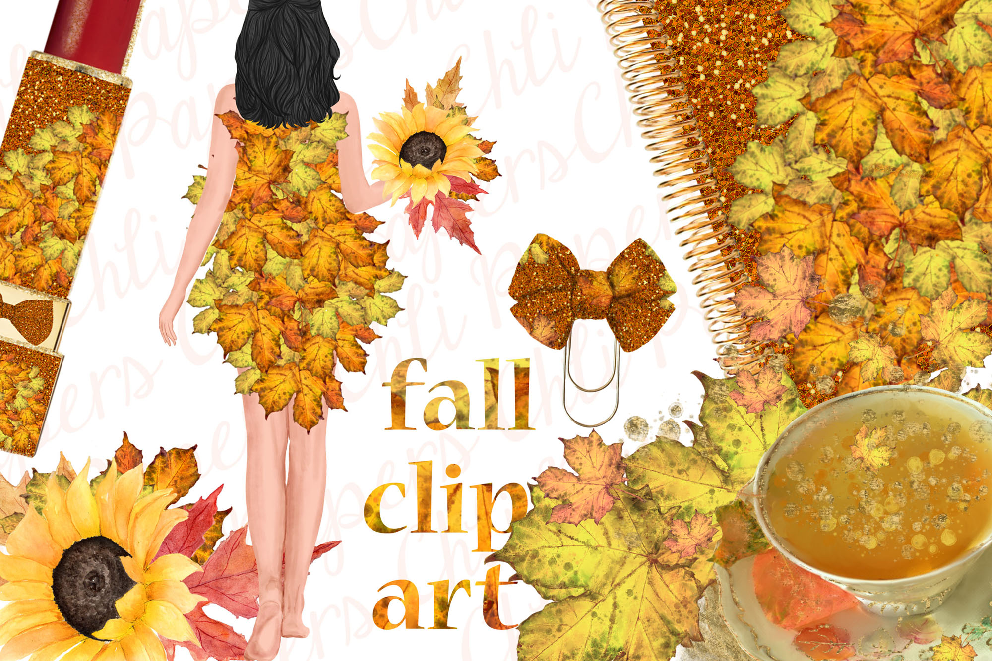 Autumn Girls Clipart, Planner girls,Thanksgiving clipart, example image 3
