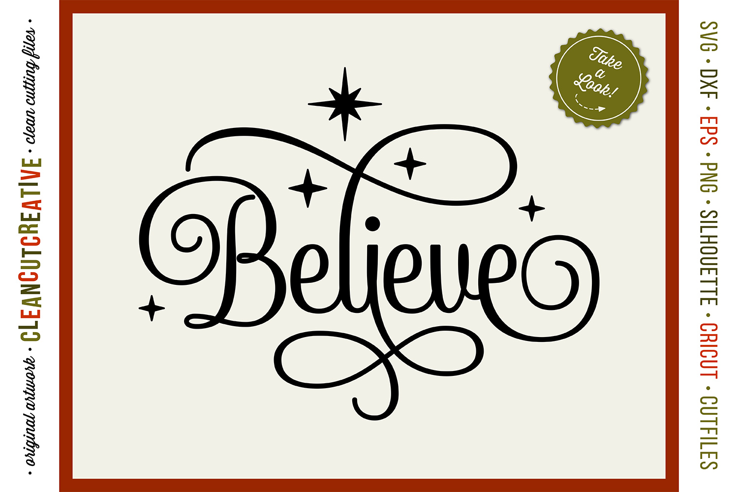 BELIEVE in the Magic - Christmas design in SVG DXF EPS PNG example image 1