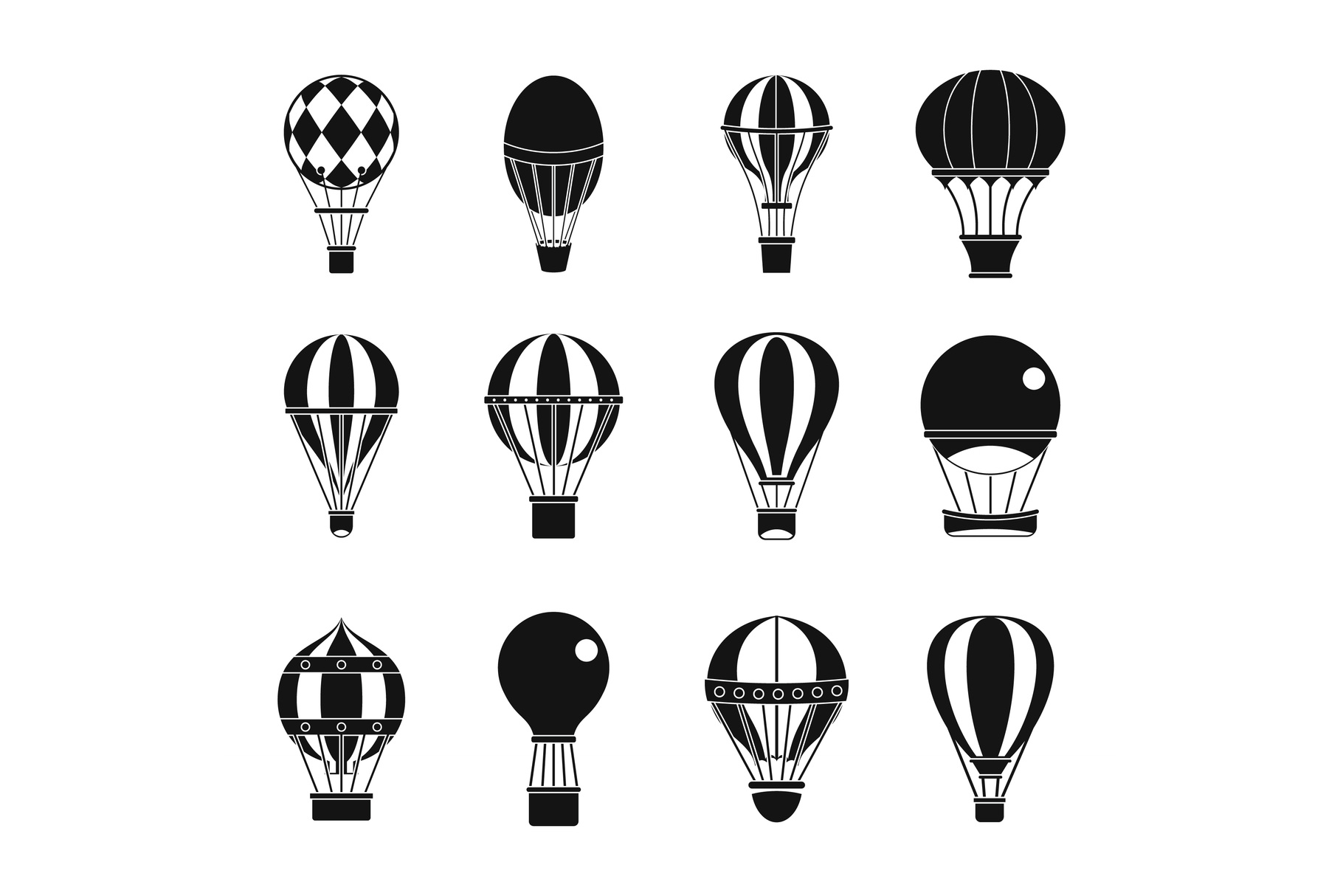 Air ballon icon set, simple style example image 1