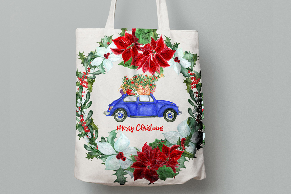Watercolor Christmas Cars,Christmas Wreaths clipart Winter example image 3