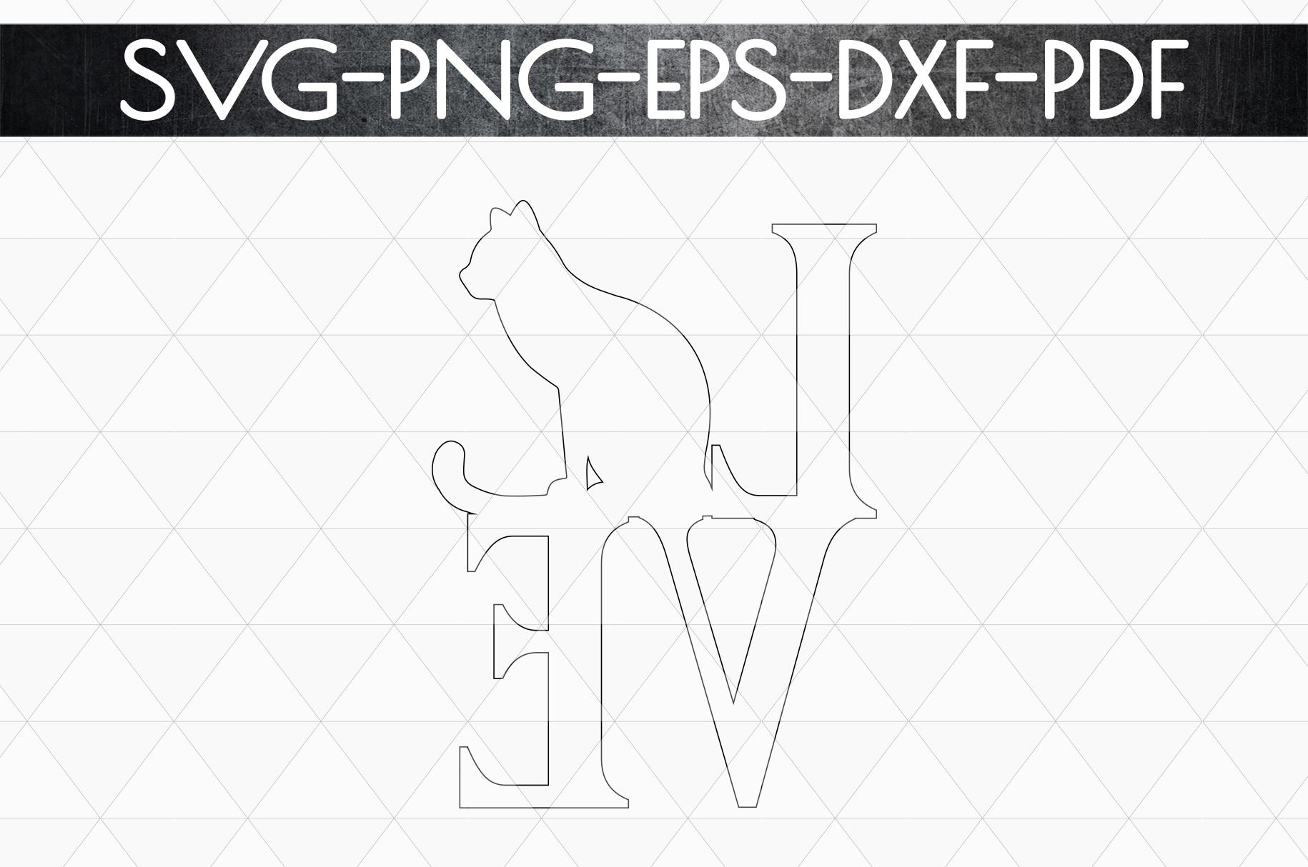 Cat Love Papercut Template, Cat Lover Decor, SVG, DXF PDF example image 5