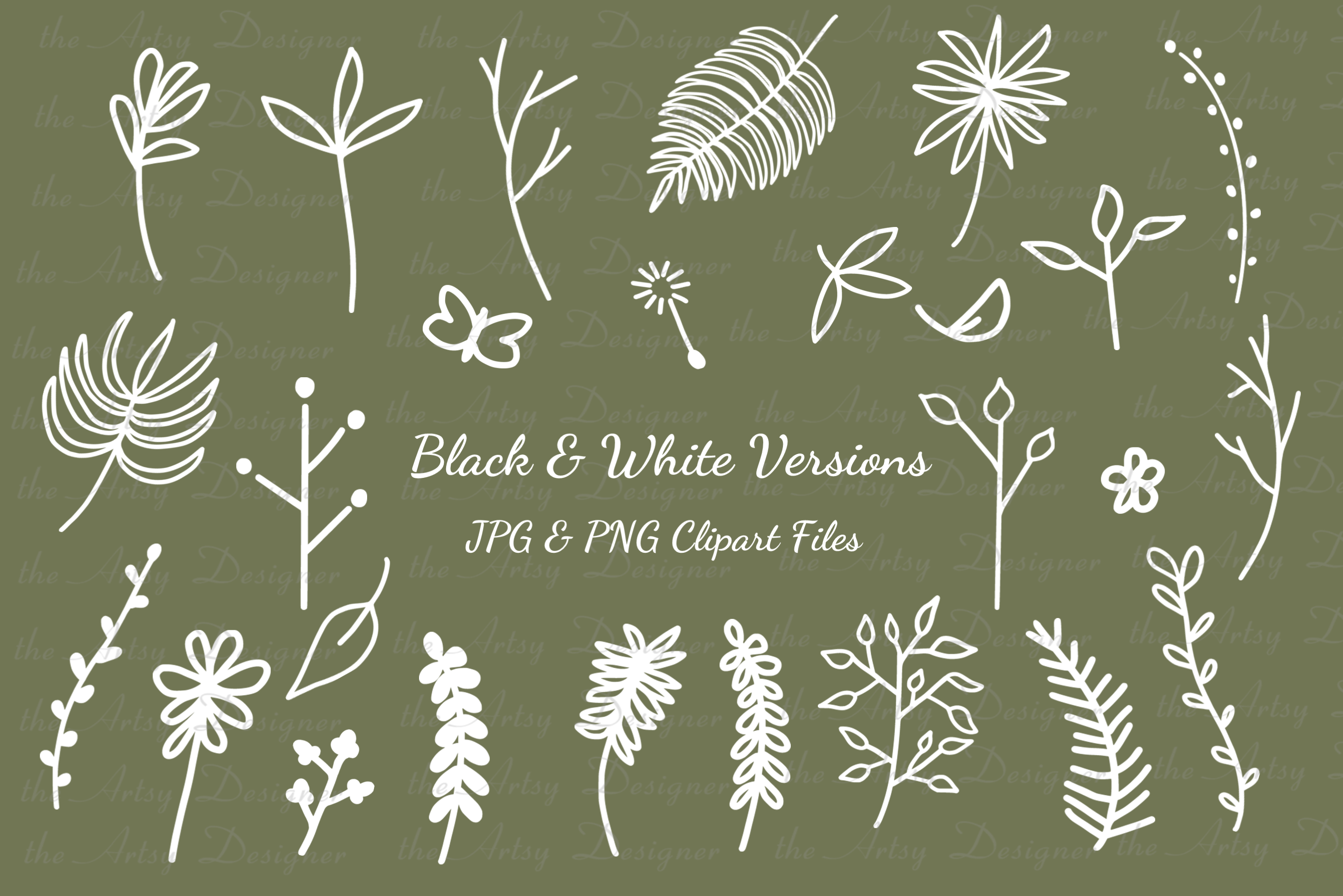 26 Digital Stamps Leaves Branches Twigs Clipart Digi Bundle example image 2