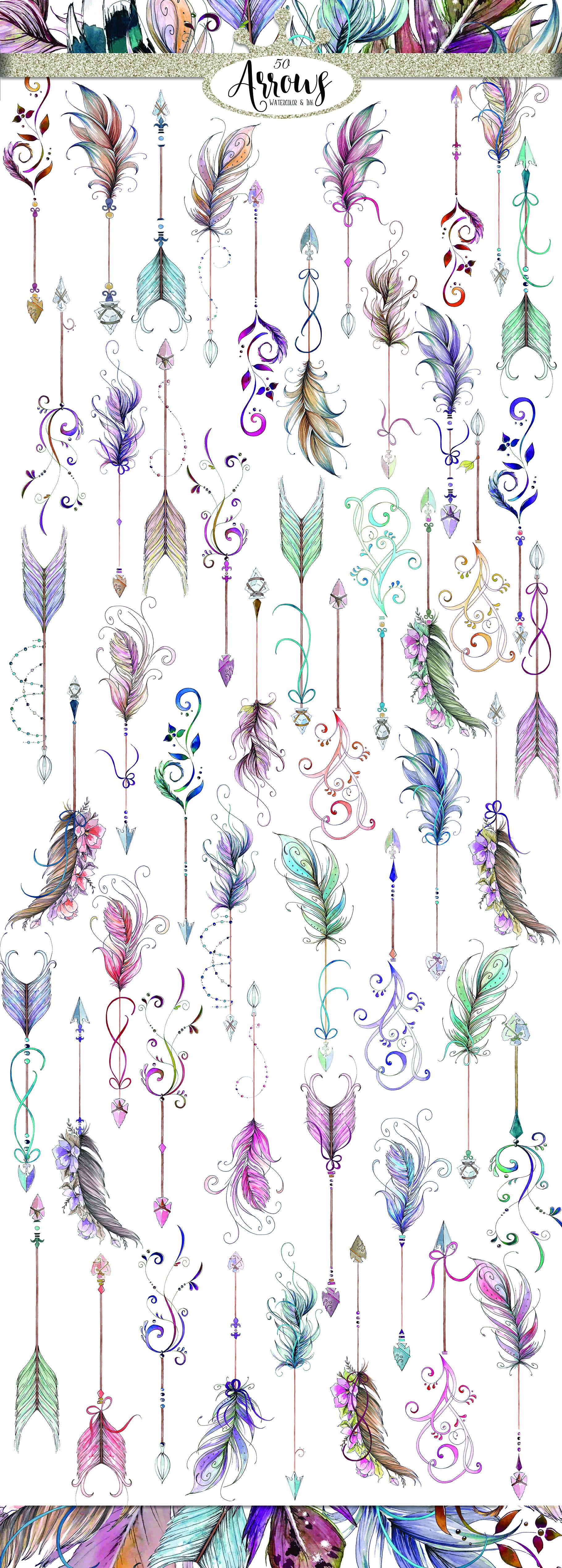 Watercolor & Ink Boho Arrows ClipArt example image 5