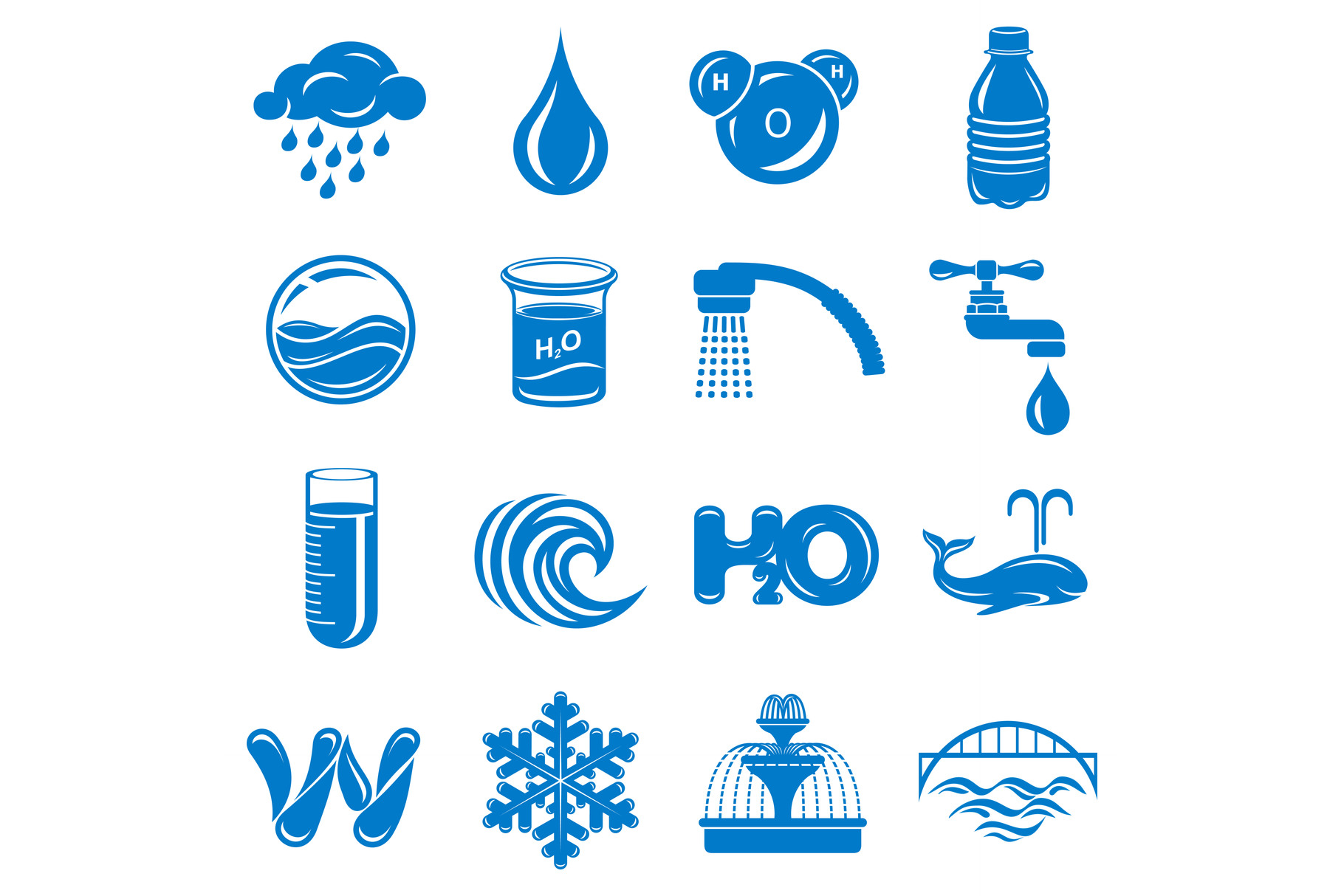 Water icons set, simple style example image 1